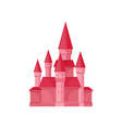 bright pink princess castle fairy tale building vector image