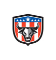 Bull Cow Head USA Flag Crest Low Polygon vector image