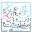 businesswoman late for a meeting - line design vector image vector image