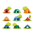 camping tent set tourist tent under shelter vector image