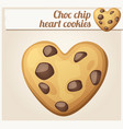 choc chip heart cookies cartoon vector image vector image