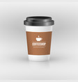 coffee paper cup set with label brown plastic vector image
