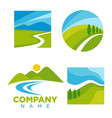 company logotype with cartoon landscape vector image vector image
