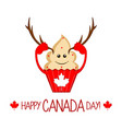 cute cupcake with moose horns canada day vector image
