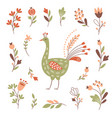 decor floral elements bird set on white vector image vector image