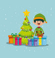 elf with pine trees and gifts to christmas vector image vector image