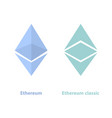 ethereum and ethereum classic crypto currency vector image vector image