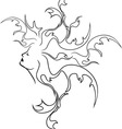 Fantasy girl profile black stencil vector image