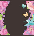 flower frame roses birds butterflies style vector image