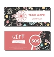 Gift vouchers with floral background vector image