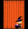 halloween template little witch and cauldron vector image