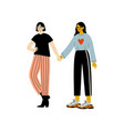 happy lesbian female couple two girls holding vector image