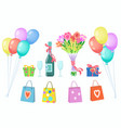 happy valentines day or birthday gift set vector image vector image