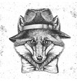 hipster animal fox in hat hand drawing muzzle vector image