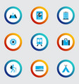 journey icons colored set with sunny mastercard vector image