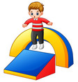 little boy playing in the playground vector image vector image