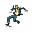 man falls slippery businessman with a vector image vector image