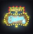 merry christmas wooden neon billboard vector image vector image