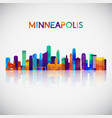 minneapolis skyline silhouette in colorful vector image vector image
