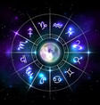 mystic zodiac wheel with star signs in neon style vector image