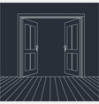 open doors line icon for web vector image vector image