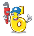 plumber number six isolated on the mascot vector image vector image