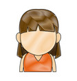 portrait little girl young person cartoon vector image vector image