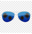 realistic sun glasses with palm tree icon vector image