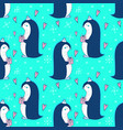 reamless pattern with christmaas penguin vector image