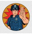 Retro police officer stop gesture vector image vector image