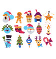 santa claus and snowman reindeer and xmas tree vector image
