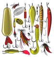 Set of Artificial fishing lures vector image vector image