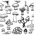 set silhouettes cute cartoon mushrooms on white vector image vector image