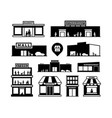 shopping mall buildings icons store exteriors vector image