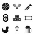 sport toy icons set simple style vector image vector image