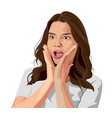 stunned young brunette in white t-shirt surprised vector image vector image