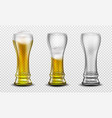 tall glass full beer half full and empty vector image