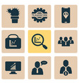 teamwork icons set with office plant employee vector image vector image
