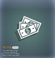 Us dollar icon symbol on the blue-green abstract vector image