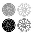 viking shield icon set grey black color outline vector image