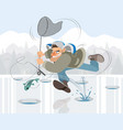 man fishing in the winter vector image