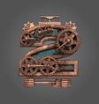 2 rusted letter with gears vector image vector image