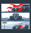 a collection three banners with hot rod cars on vector image vector image