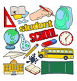 back to school doodle with pen book vector image vector image