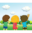 Backview of three kids vector image