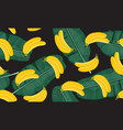 banana seamless pattern with banana leaves bunch vector image vector image