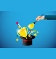 business hand holding lightbulb magic wand vector image vector image