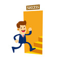businessman entering the door to success vector image