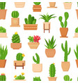 cactus seamless pattern tropical plant succulent vector image vector image