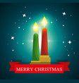 candles and stars to merry christmas celebration vector image vector image